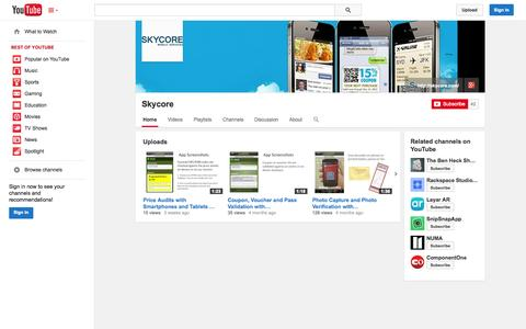 Screenshot of YouTube Page youtube.com - Skycore  - YouTube - captured Oct. 23, 2014