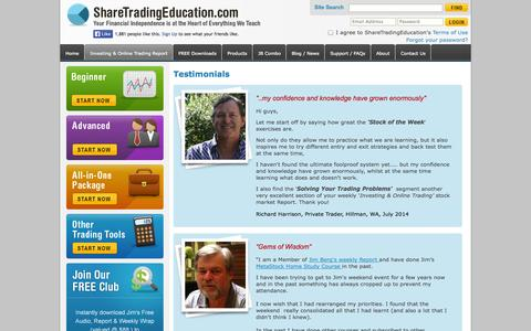 Screenshot of Testimonials Page sharetradingeducation.com - Online Stock, Share Trading & Investing. How to Get Started & Improve Your Market Performance.FREE Traders & Investors Club - captured Sept. 30, 2014