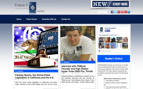 Screenshot of Home Page pokerfacenews.com - PokerFaceNews - Exclusive poker news from today's poker pros | Always one bluff ahead - captured Sept. 30, 2014