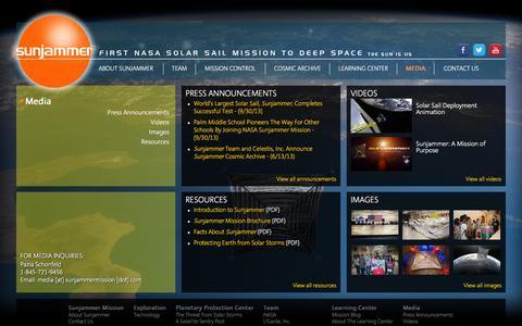 Screenshot of Press Page sunjammermission.com - Sunjammer Mission: Media - captured Oct. 8, 2014