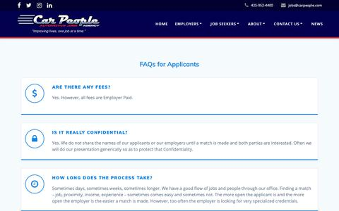 Screenshot of FAQ Page carpeople.com - FAQs – Car People Agency - captured Sept. 27, 2018