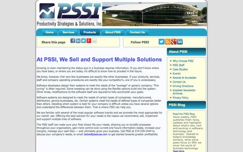 Screenshot of Products Page pssiusa.com - Products  |  PSSIUSA - captured Oct. 3, 2014