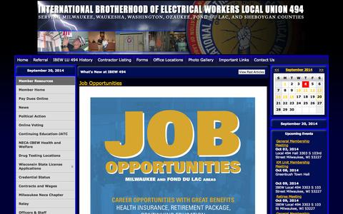 Screenshot of Home Page ibew494.com - IBEW LOCAL UNION 494 - captured Sept. 22, 2014