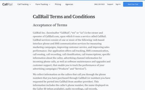 Screenshot of Terms Page callrail.com - CallRail Terms and Agreement   CallRail - captured Jan. 10, 2020