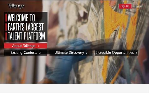 Screenshot of Home Page tallenge.com - Tallenge - Earth's Largest Talent Platform - captured Oct. 22, 2015