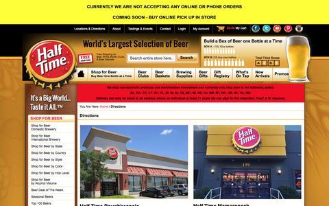 Screenshot of Maps & Directions Page halftimebeverage.com - World's Largest Selection of Beer Online - Half Time - captured Oct. 18, 2016