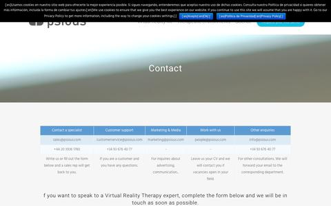 Screenshot of Contact Page psious.com - Contact - Psious - captured Oct. 21, 2019