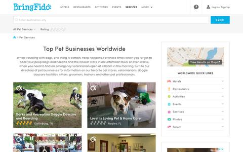 Screenshot of Services Page bringfido.com - Top Pet Businesses Worldwide - captured Sept. 22, 2018