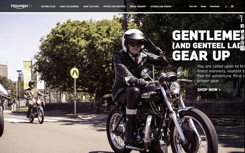 Screenshot of Home Page triumphmotorcycles.com - Triumph Motorcycles USA | Triumph Motorcycles - captured Sept. 22, 2014