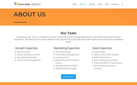 Screenshot of About Page thevantagegrp.com - About Us | Vantage Group - captured Oct. 19, 2018