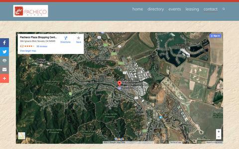 Screenshot of Contact Page pachecoplaza.com - Pacheco Plaza Map & Directions | Pacheco Plaza Novato : Novato Shopping Center - captured Oct. 19, 2017