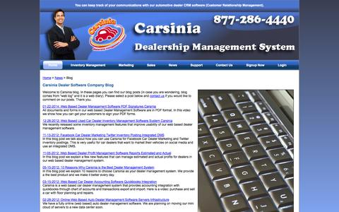 Screenshot of Blog carsinia.com - Carsinia Dealer Software Company Blog - captured Sept. 30, 2014