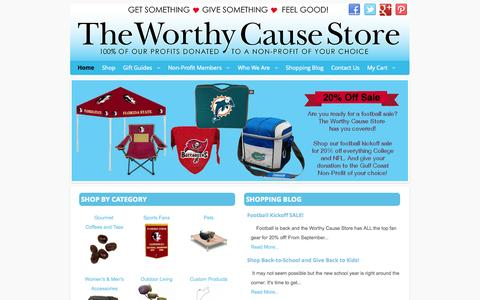 Screenshot of Home Page worthycausestore.com - The Worthy Cause Store - captured Oct. 9, 2014