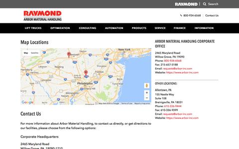 Screenshot of Contact Page arbor-inc.com - Contact Arbor Material Handling | New Jersey, Philadelphia and Delaware - captured Nov. 21, 2016