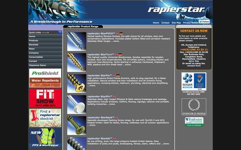 Screenshot of Products Page rapierstar.com - Product range - Rapierstar - captured Sept. 30, 2014