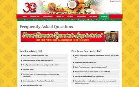 Screenshot of FAQ Page foodbazaar.com - Frequently Asked Questions | Food Bazaar Supermarket - captured Oct. 6, 2018