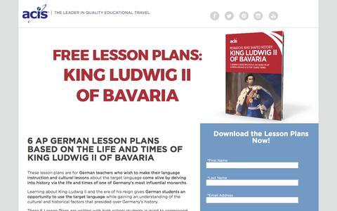 Screenshot of Landing Page acis.com - AP German Lesson Plans - King Ludwig II of Bavaria - captured May 11, 2018