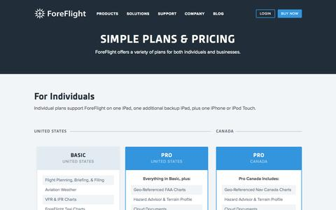 Screenshot of Pricing Page foreflight.com - ForeFlight - Simple Plans and Pricing for ForeFlight Mobile - captured Oct. 7, 2015