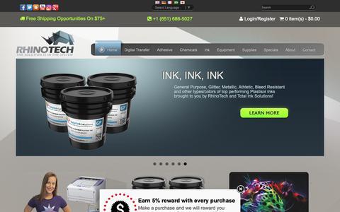 Screenshot of Home Page rhinotechinc.com - Manufacturer of Screen Printing Equipment & Supplies - captured Oct. 11, 2018