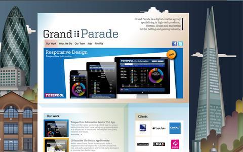 Screenshot of Home Page grandparade.co.uk - Grand Parade | High Tech Digital Marketeers - captured Sept. 30, 2014