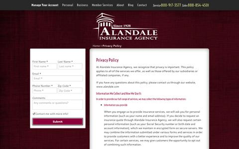Screenshot of Privacy Page alandale.com - Privacy Policy | Alandale Insurance Agency of Los Alamitos California - captured Oct. 4, 2014