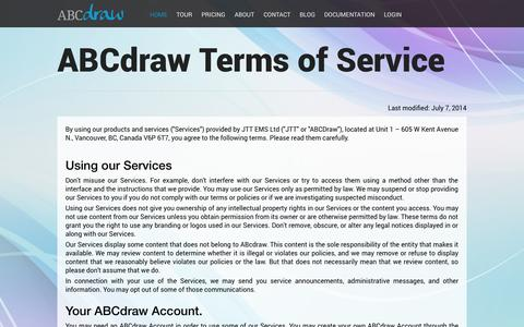 Screenshot of Terms Page abcdraw.com - Terms and Conditions | ABCdraw - captured Sept. 30, 2014