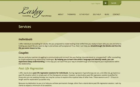 Screenshot of Services Page laskeytherapy.com - Services - Laskey Counselling and Hypnotherapy - captured Oct. 1, 2014