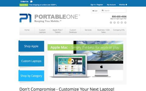 Screenshot of Home Page Menu Page portableone.com - PortableOne.com Your source for Custom Laptops - Buy a New Laptop On Line - captured Sept. 25, 2014