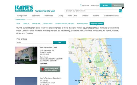 Screenshot of Locations Page kanesfurniture.com - Kane's Furniture Kane Furniture Locations - captured Sept. 20, 2018