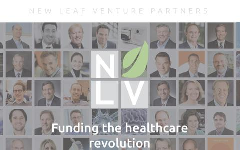 Screenshot of Home Page nlvpartners.com - New Leaf Venture Partners - captured Oct. 18, 2018