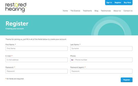 Screenshot of Signup Page restoredhearing.com captured Oct. 6, 2014