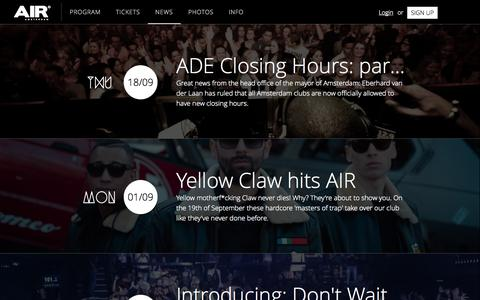 Screenshot of Press Page air.nl - News - AIR - Night Club Amsterdam - captured Sept. 23, 2014