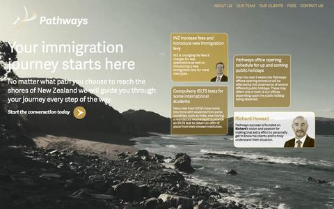 Screenshot of Home Page pathwaysnz.com - Pathways NZ - You immigration journey starts here - captured Jan. 26, 2016