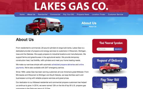 Screenshot of About Page lakesgasco.com - About Us - Lakes Gas Co. - captured Dec. 6, 2015