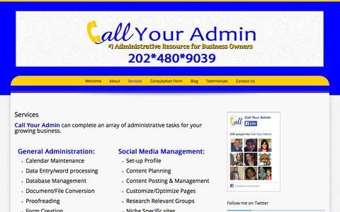 Screenshot of Services Page callyouradmin.com - Services | Call Your Admin - captured Sept. 27, 2014