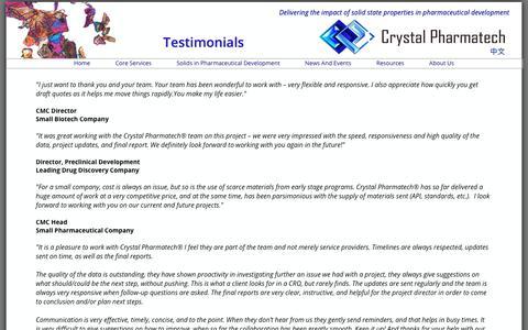 Screenshot of Testimonials Page crystalpharmatech.com - Crystal Pharmatech - Testimonials - captured Sept. 30, 2018