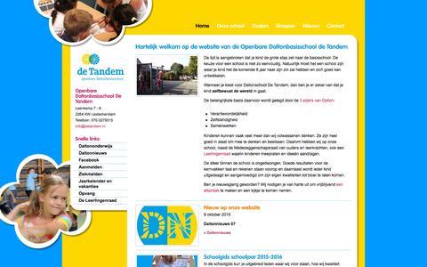 Screenshot of Home Page detandem.nl - Hartelijk welkom op de website van de Openbare Daltonbasisschool de Tandem - Basisschool De Tandem - captured Oct. 12, 2015