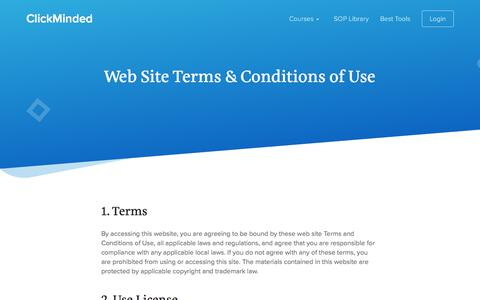 Screenshot of Terms Page clickminded.com - Terms & Conditions - ClickMinded - captured March 2, 2018