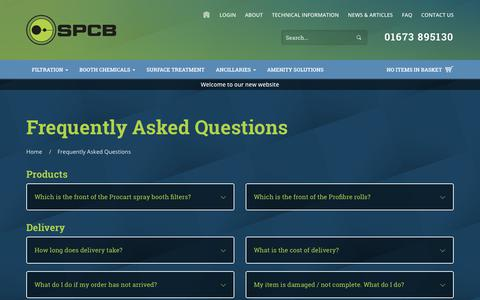 Screenshot of FAQ Page spcb.co.uk - Frequently Asked Questions for SPCB (UK) Limited - captured Nov. 12, 2018
