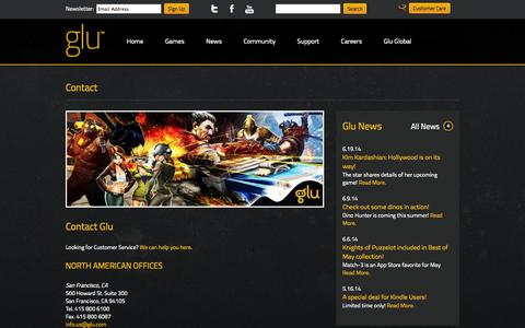 Screenshot of Contact Page glu.com - Glu   The Leader in 3D Freemium Mobile Gaming - captured Sept. 16, 2014