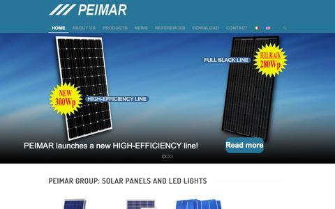 Screenshot of Home Page peimar.com - PEIMAR GROUP - SOLAR PANELS AND LED LIGHTS - captured July 19, 2015