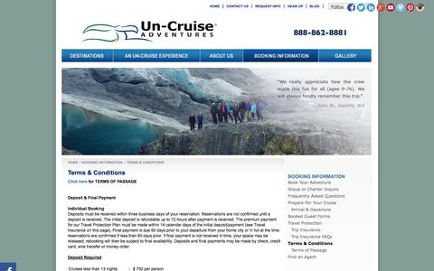 Screenshot of Terms Page un-cruise.com - Terms Conditions | Un-Cruise Adventures - captured Sept. 22, 2014