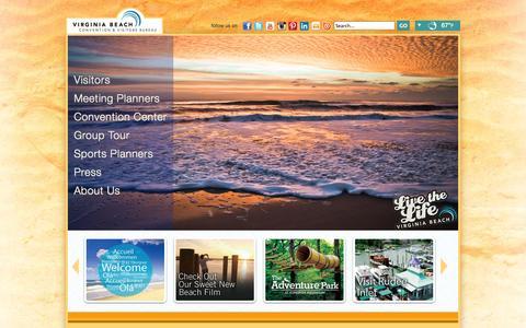 Screenshot of Home Page visitvirginiabeach.com - Visit Virginia Beach - The official Virginia Beach tourism website. - captured Sept. 19, 2014