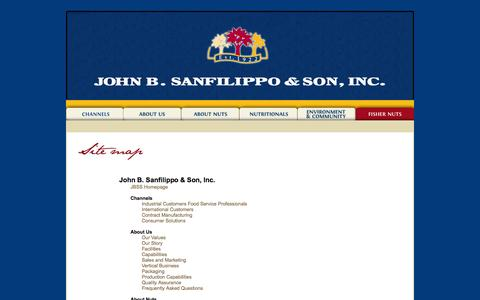 Screenshot of Site Map Page jbssinc.com - SITE MAP | John B. Sanfilippo & Son, Inc. Home of Fisher Nuts, Orchard Valley Harvest & Sunshine Country - captured Nov. 3, 2014