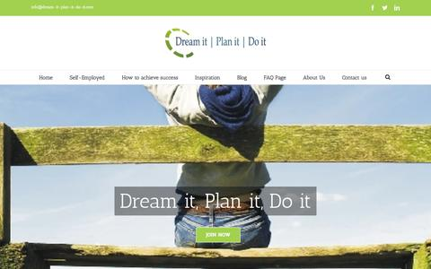 Screenshot of Home Page dream-it-plan-it-do-it.com - Dream it Plan it Do it | Self-Employment - captured Jan. 26, 2015
