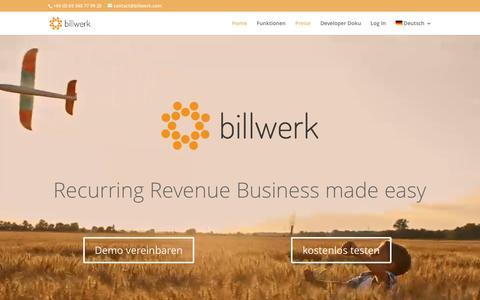 Screenshot of Home Page billwerk.com - billwerk GmbH   Recurring Revenue Business made easy - captured July 2, 2016
