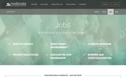 Screenshot of Jobs Page mobivate.com - Company - Jobs - captured Jan. 10, 2016