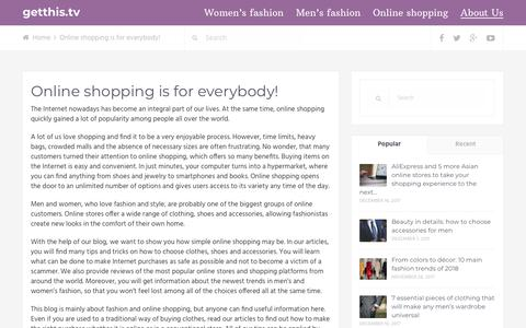 Screenshot of About Page getthis.tv - Blog about fashion and online shopping - captured Sept. 28, 2018