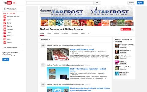Screenshot of YouTube Page youtube.com - Starfrost Freezing and Chilling Systems  - YouTube - captured Oct. 25, 2014
