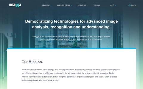 Screenshot of About Page Jobs Page Team Page imagga.com - Imagga - Computer Vision AI Company, Mission, Team - captured Aug. 6, 2019